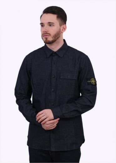 Stone Island Washed Denim Shirt - Indigo