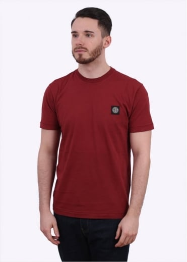 Stone Island Badge Tee - Burgundy