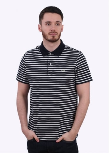 Lacoste Short Sleeve Stripe Polo - Navy Blue/Flour