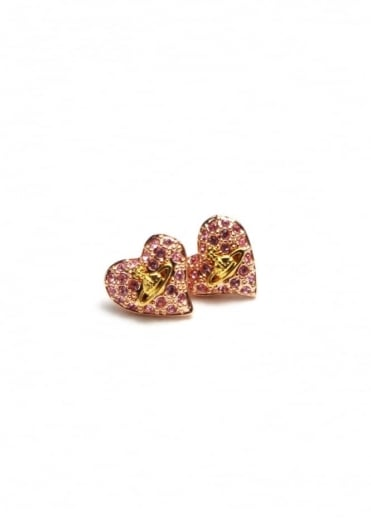Vivienne Westwood Jewellery Tiny Diamante Heart Studs Copper