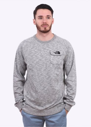 North Face Long Sleeve Pocket Crew Sweatshirt - Heather Grey