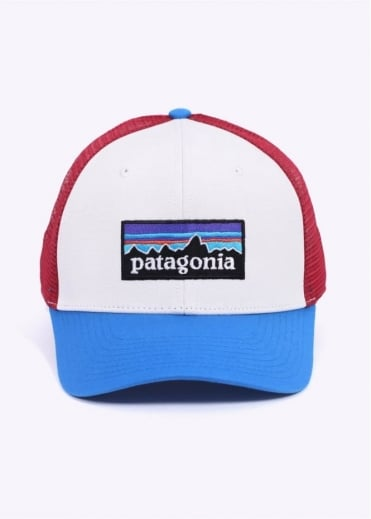 Patagonia P-6 Logo Trucker Hat - White / Andes Blue