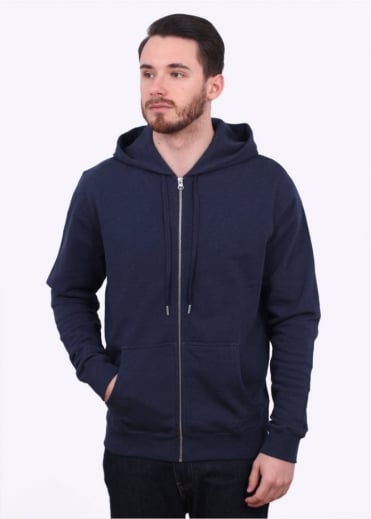 Sunspel Zip Front Hoody - Navy Melange