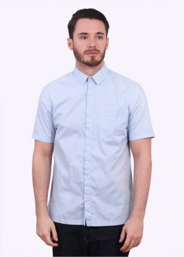 Sunspel Washed SS Oxford Shirt - Light Blue