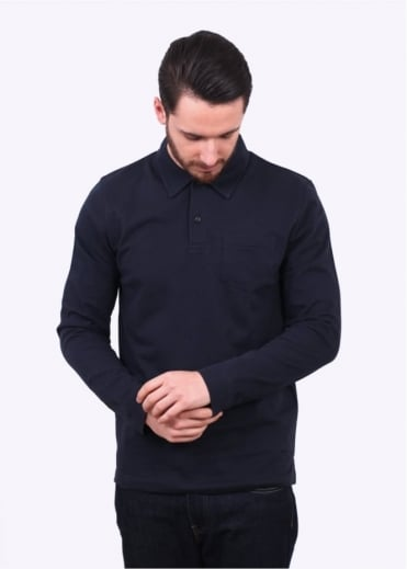 Sunspel Long Sleeve Riviera Polo - Navy