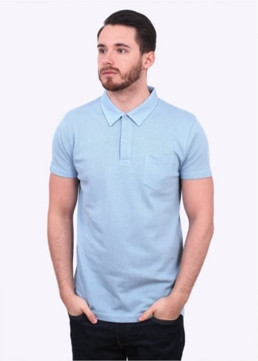 Sunspel SS Riviera Polo - Sky Blue