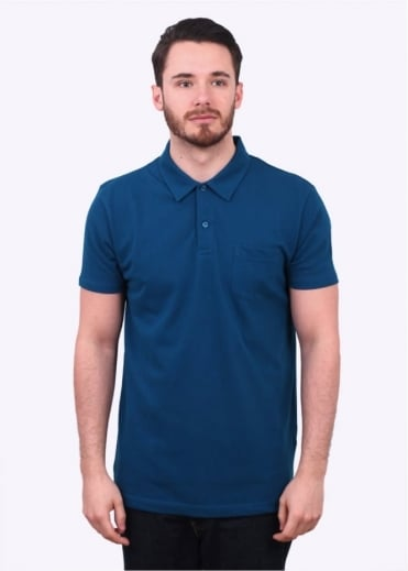 Sunspel Short Sleeve Riviera Polo - Falcon Blue