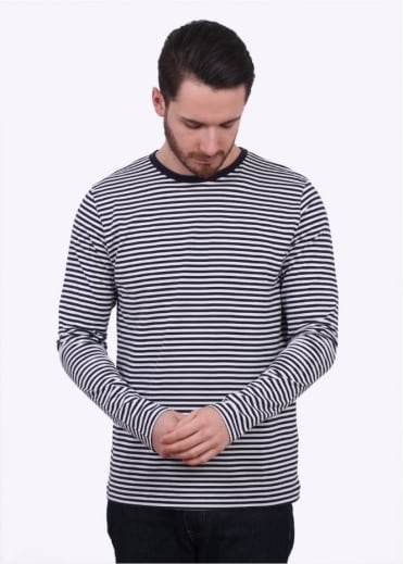 Sunspel LS English Stripe Tee - White / Navy