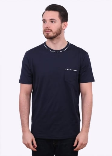 Sunspel SS Crew Neck Detail Pocket Tee - Navy