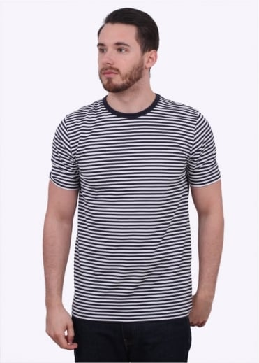 Sunspel English Stripe Tee - White / Navy