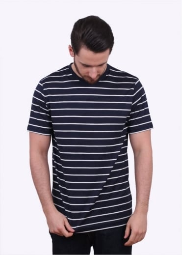 Sunspel SS Quarter Stripe Tee - Navy