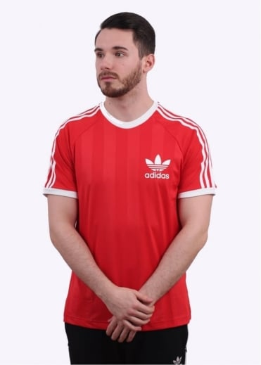 Adidas Originals Apparel Stripe California Tee - Red