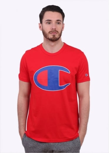 Champion Reverse Weave Oversized Logo Print Tee - Red