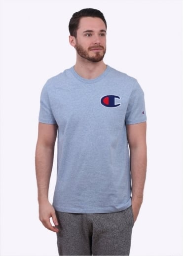 Champion Reverse Weave Melange Printed Logo Tee - Light Mix Blue
