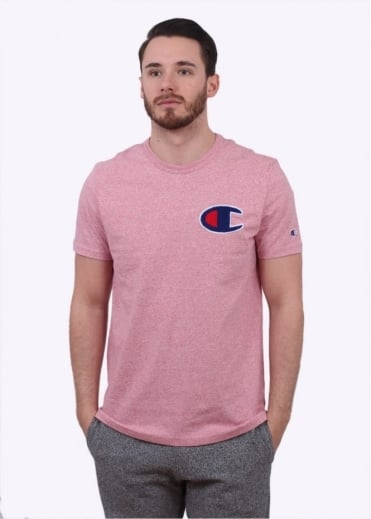 Champion Reverse Weave Melange Printed Logo Tee - Pink Heather