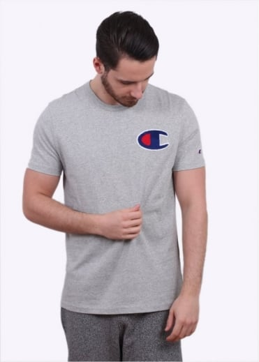 Champion Reverse Weave Melange Printed Logo Tee - Grey Heather