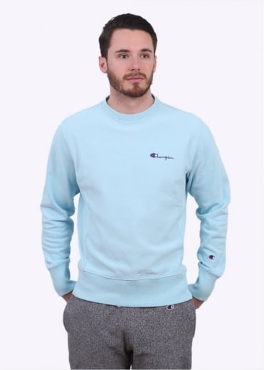 Champion Reverse Weave Classic Crew Sweater - Light Blue