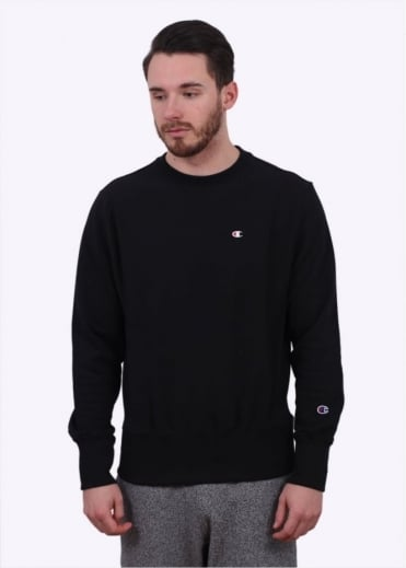 Champion Reverse Weave Classic Logo Crew Sweater - Black