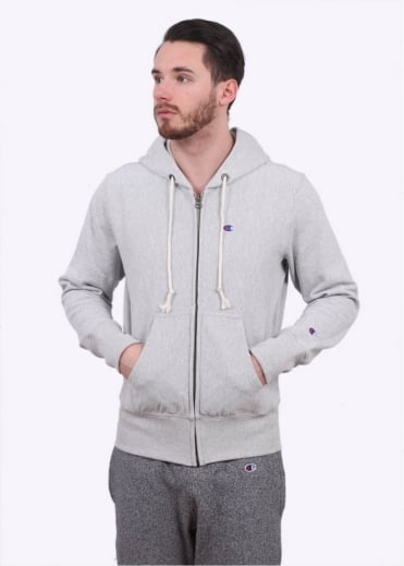 Champion Reverse Weave Full Zip Hooded Sweater - Light Grey