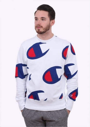 Champion Reverse Weave Allover Logo Sweater - White