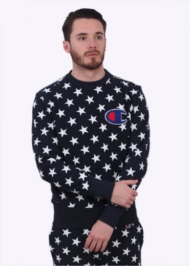 Champion Reverse Weave Allover Star Print Sweater - Navy Blue