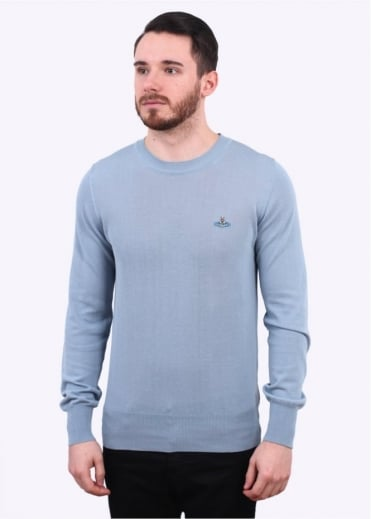 Vivienne Westwood Mens Classic Roundneck Sweater - Sky Grey