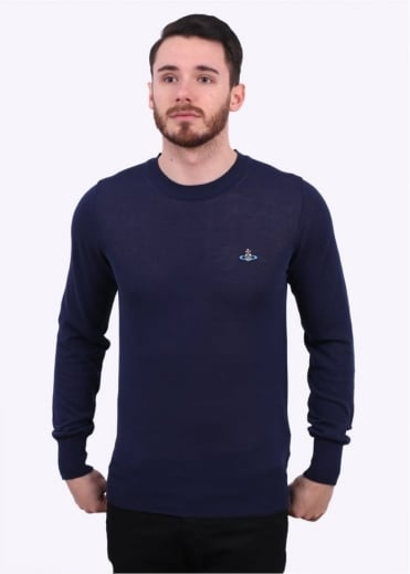 Vivienne Westwood Mens Classic Roundneck Sweater - Navy