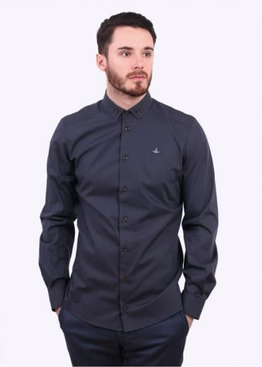 Vivienne Westwood Mens Polo Stretch Button Shirt - Grey
