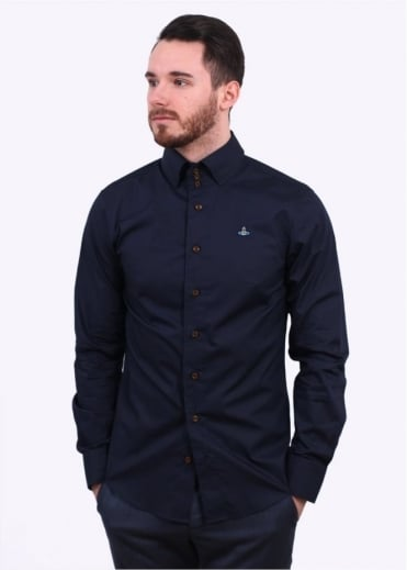 Vivienne Westwood Mens Krall Stretch Shirt - Navy