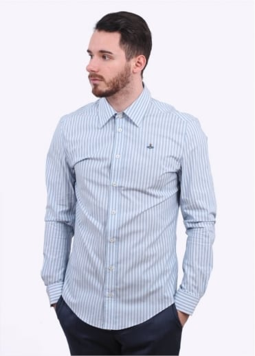 Vivienne Westwood Mens Classic Stretch Striped Shirt - Blue