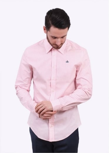 Vivienne Westwood Mens Classic Stretch Striped Shirt - Pink