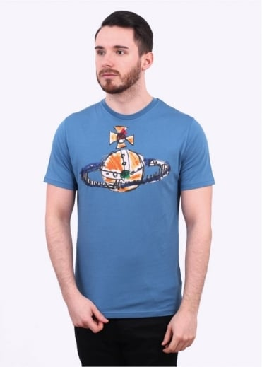 Vivienne Westwood Mens Hand Drawn Orb Logo Tee - Blue Green