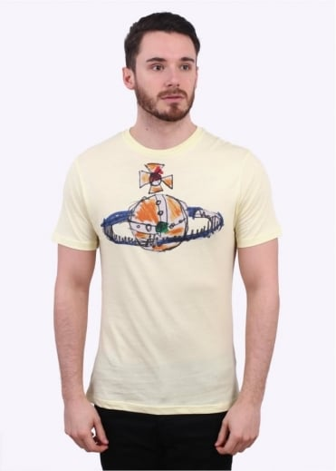 Vivienne Westwood Mens Hand Drawn Orb Logo Tee - Yellow