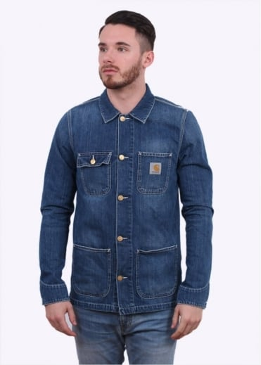 Carhartt Michigan Chore Coat - Blue Washed Denim