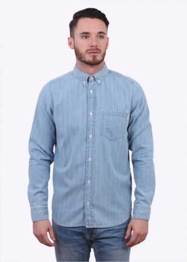 Carhartt LS Quincy Heart Stripe Shirt - Light Blue