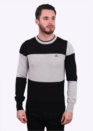 Vivienne Westwood Mens Anglomania Classic Roundneck Sweater - Grey / Cream