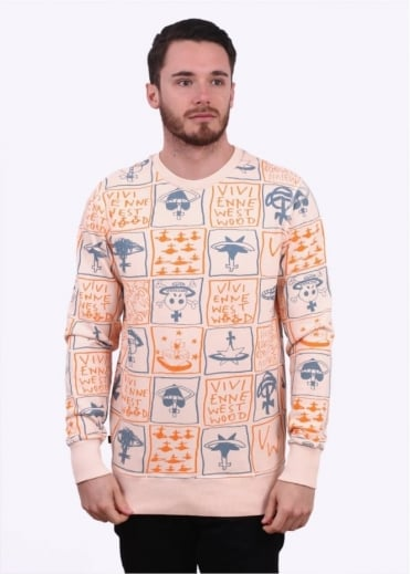 Vivienne Westwood Mens Anglomaia Doodle Print Sweater - Pink