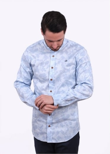 Vivienne Westwood Mens Krall Two-Button Printed Shirt - Light Blue