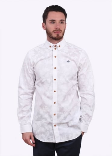 Vivienne Westwood Mens Krall Two-Button Printed Shirt - White