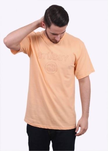 Stussy Link Embroidered Tee - Peach