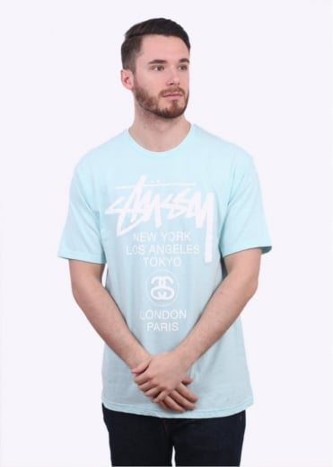 Stussy World Tour Tee - Light Blue