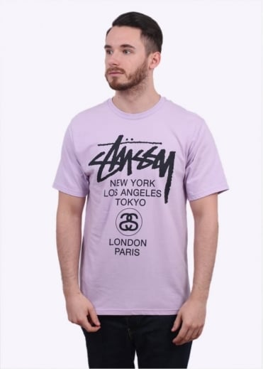 Stussy World Tour Tee - Light Purple