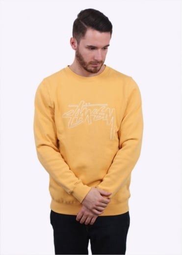 Stussy Stock Outline Sweater - Faded Yellow