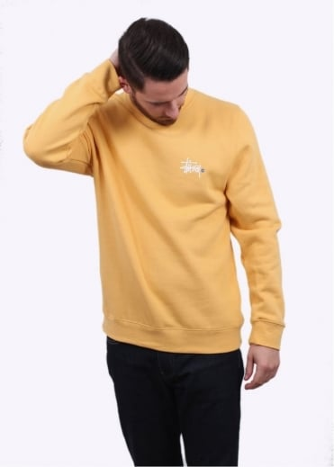 Stussy Basic Logo Sweater - Faded Yellow