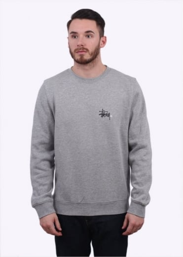 Stussy Basic Logo Sweater - Heather Grey