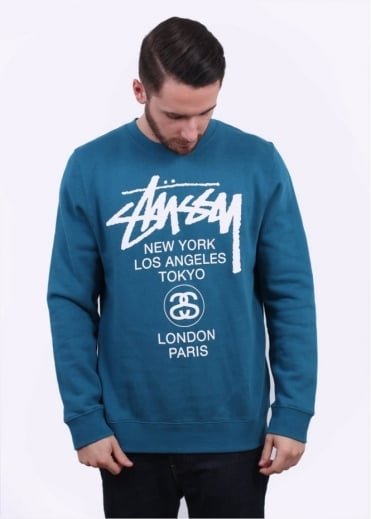 Stussy World Tour Sweater - Blue