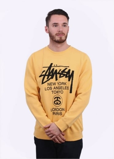 Stussy World Tour Sweater - Faded Yellow