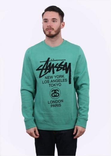 Stussy World Tour Sweater - Green