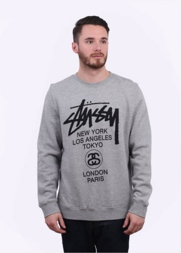 Stussy World Tour Sweater - Heather Grey