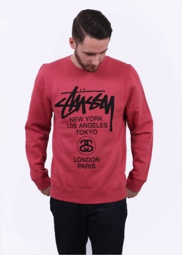 Stussy World Tour Sweater - Salmon